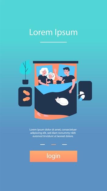 Enfants Dormant Dans Le Lit Des Parents Vecteur Premium