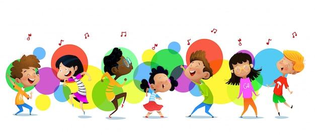 Enfants Drôles Mignons En Studio De Danse Vecteur Premium
