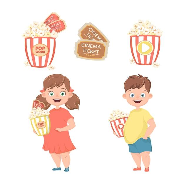 Les enfants avec du pop-corn dans leurs mains vont au cinéma. Vecteur Premium