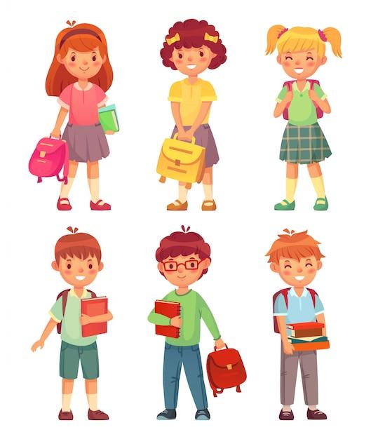 Enfants de l'école primaire. heureux garçon et fille élève au jeu d'uniforme d'écoles Vecteur Premium
