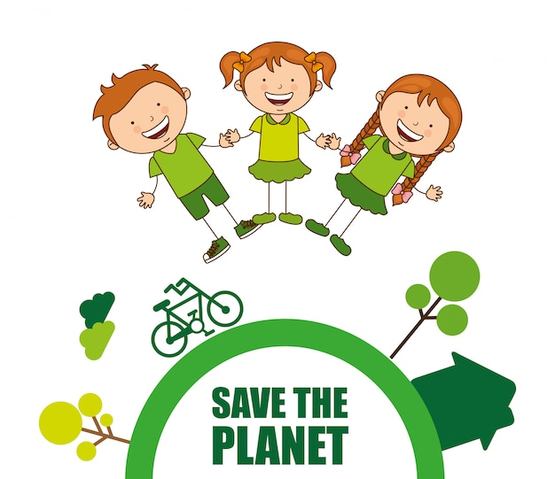 Enfants écologiques Vecteur Premium