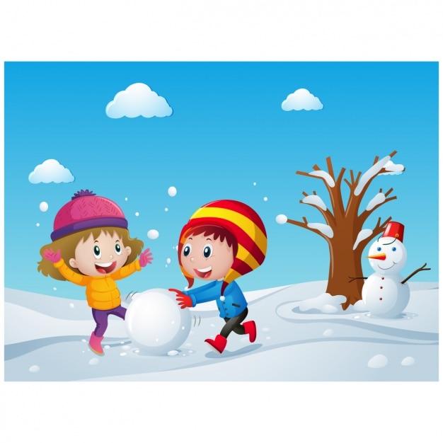Enfants enthousiaste jouant avec de la neige Vecteur gratuit