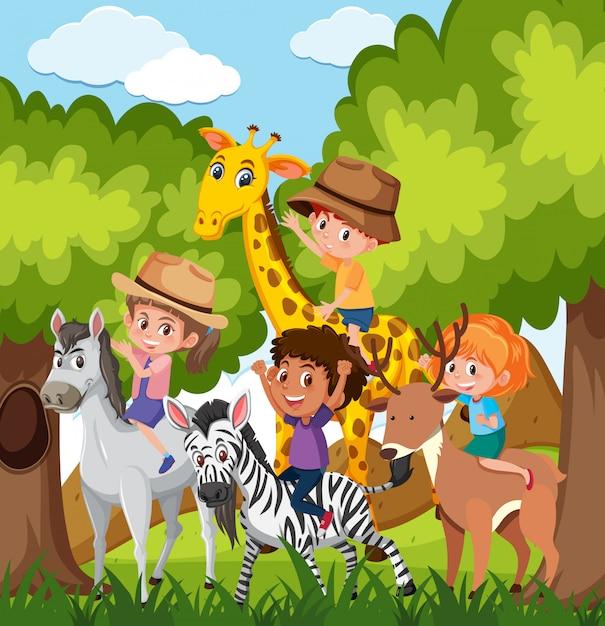 Enfants, équitation, animal, dans, sauvage Vecteur Premium