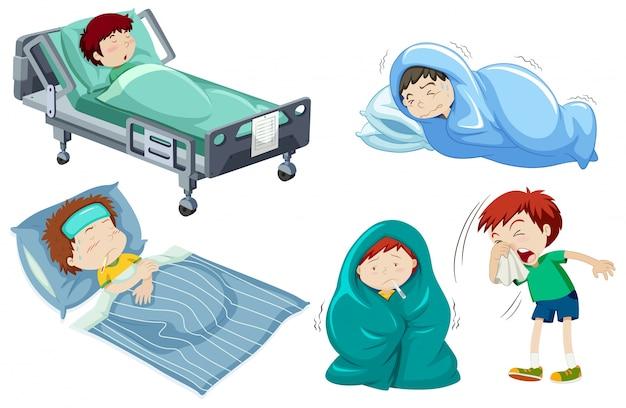 Les enfants étant malade au lit Vecteur gratuit