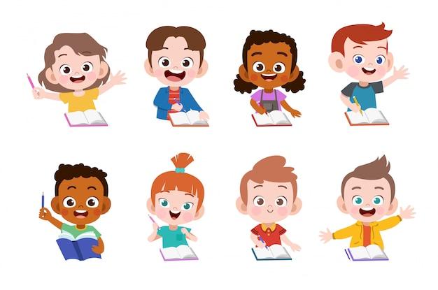 Les enfants étudient Vecteur Premium