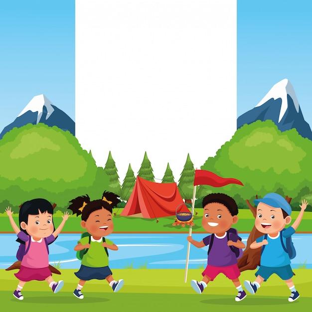 Enfants en excursion scolaire Vecteur gratuit