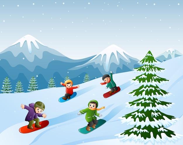 Enfants faisant du snowboard sur la neige Vecteur Premium