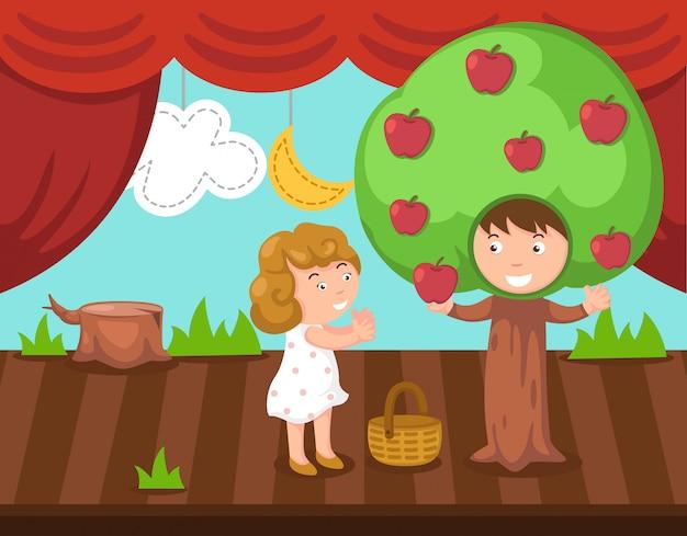 Enfants faisant du théâtre Vecteur Premium