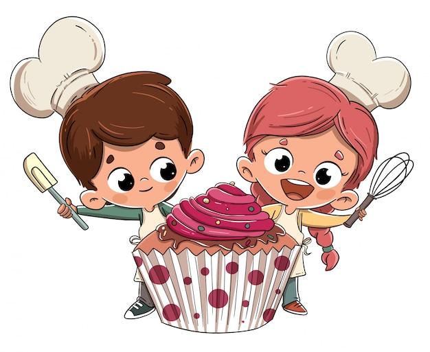 Enfants faisant un petit gâteau Vecteur Premium