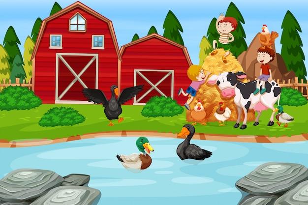 Enfants à la ferme Vecteur gratuit