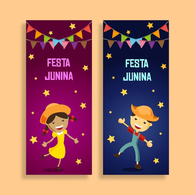 Enfants festa junina banner Vecteur Premium