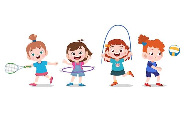 Les enfants font du sport Vecteur Premium