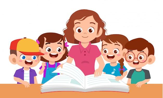 Enfants Garçon Et Fille étudient Avec Professeur Vecteur Premium
