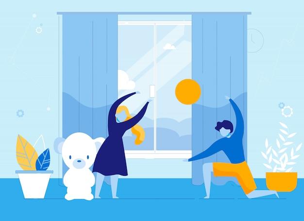 Enfants Garçon Et Fille Jouant à La Balle De Jouet à L'intérieur. Vecteur Premium