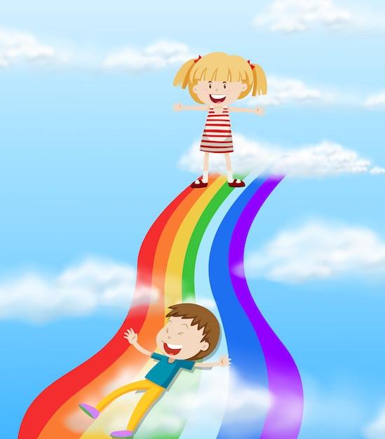Enfants glissant sur un arc-en-ciel Vecteur gratuit