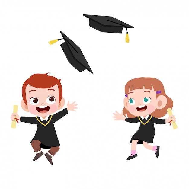 Enfants en graduation Vecteur Premium
