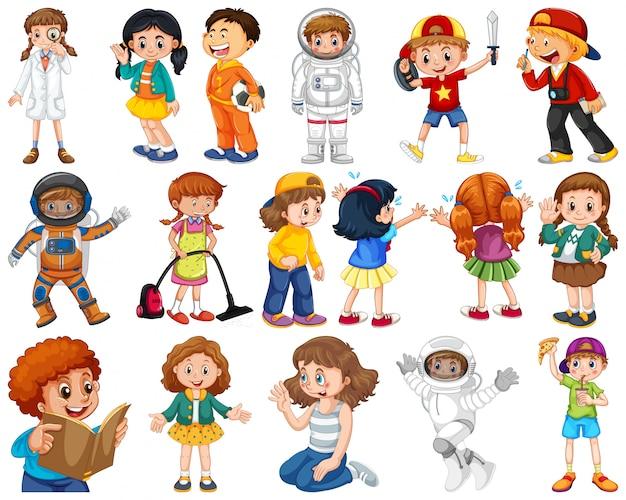 Enfants en grand groupe jouant nos différents rôles Vecteur gratuit