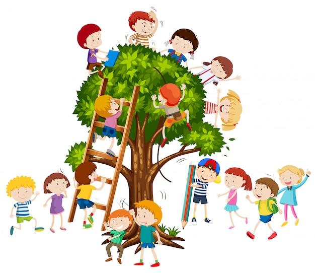Enfants grimper dans l'arbre Vecteur gratuit