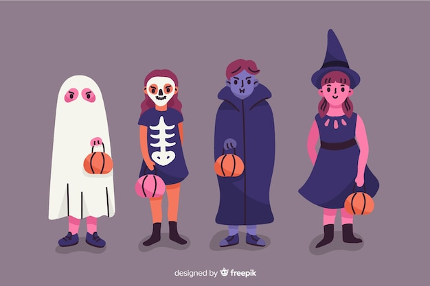 Enfants habillés comme des monstres pour halloween Vecteur gratuit