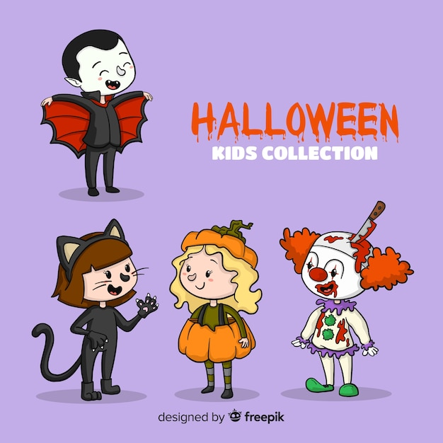 Enfants de halloween dessinés à la main Vecteur gratuit
