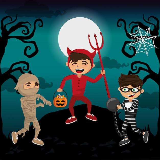 Enfants et halloween Vecteur Premium