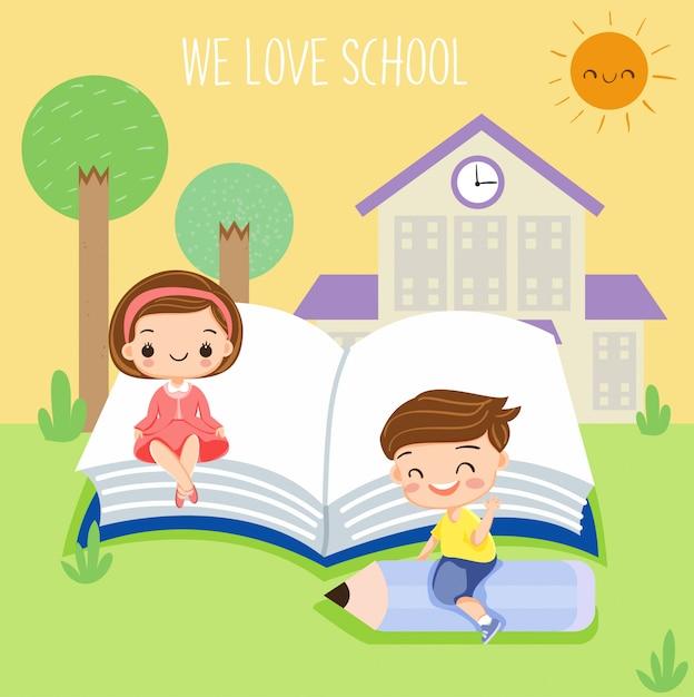 Des enfants heureux aiment étudier à l'école Vecteur Premium