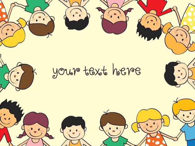 Enfants heureux cadre avec un espace pour ajouter du texte Vecteur Premium