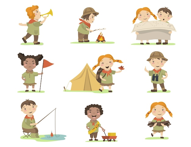 Enfants Heureux En Costumes De Scout Ensemble Plat Pour La Conception Web. Vecteur gratuit