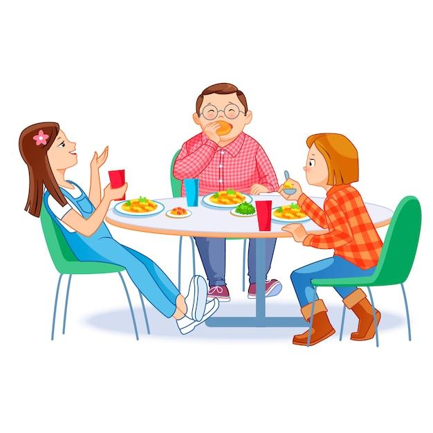 Enfants heureux déjeunant ensemble Vecteur Premium