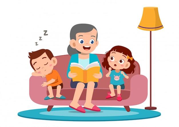 Les enfants heureux entendent l'histoire de grand-mère Vecteur Premium