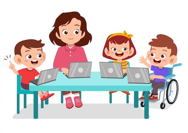 Enfants heureux étudient avec leur professeur Vecteur Premium