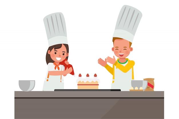 Enfants Heureux Faisant Un Personnage De Gâteau. Vecteur Premium