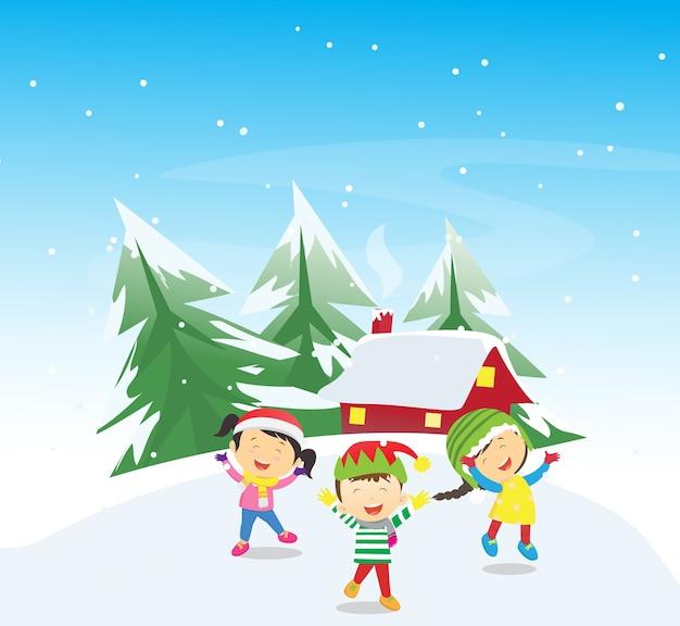 Enfants heureux jouant à l'extérieur en hiver Vecteur Premium