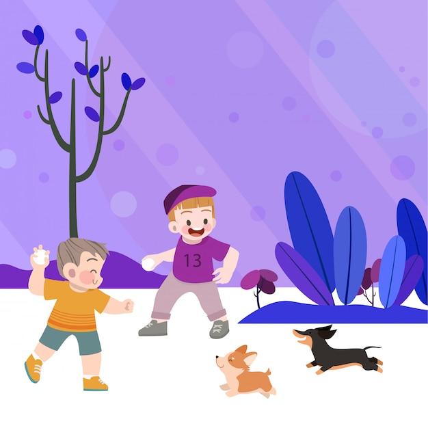 Des enfants heureux jouent dans le jardin avec des chiens Vecteur Premium