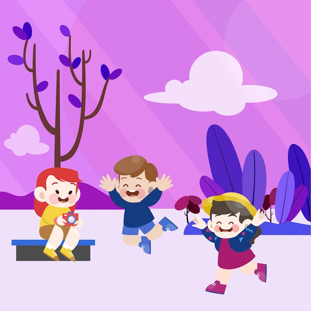 Des enfants heureux jouent ensemble dans le jardin Vecteur Premium