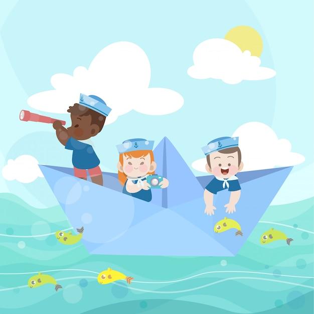 Des enfants heureux jouent ensemble dans l'océan Vecteur Premium
