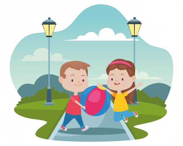 Enfants heureux mignons ayant des dessins animés Vecteur Premium