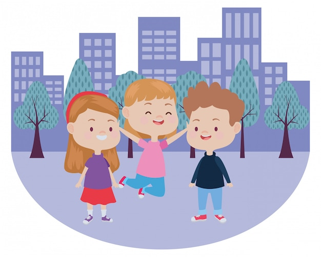 Enfants heureux mignons s'amuser Vecteur Premium