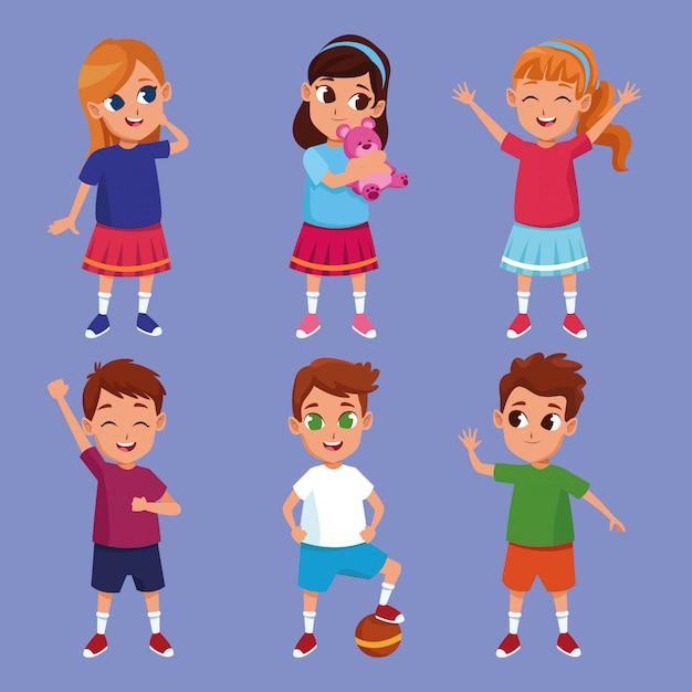 Enfants heureux mignons souriant des dessins animés Vecteur gratuit