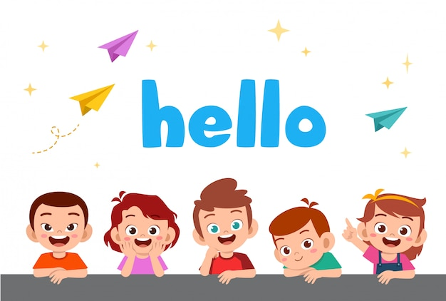 Enfants heureux mignons avec word Vecteur Premium