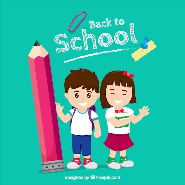 Enfants heureux retour à l'école avec un design plat Vecteur gratuit