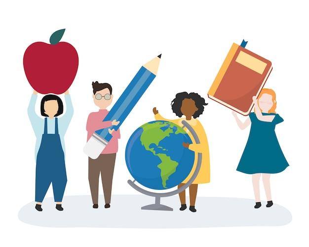 Enfants heureux de retour à l'école Vecteur gratuit