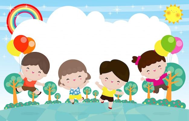 Enfants Heureux Sautant Et Dansant Sur Le Parc, Activités Pour Enfants, Enfants Jouant Dans L'aire De Jeux, Personnage De Dessin Animé Drôle Vecteur Premium