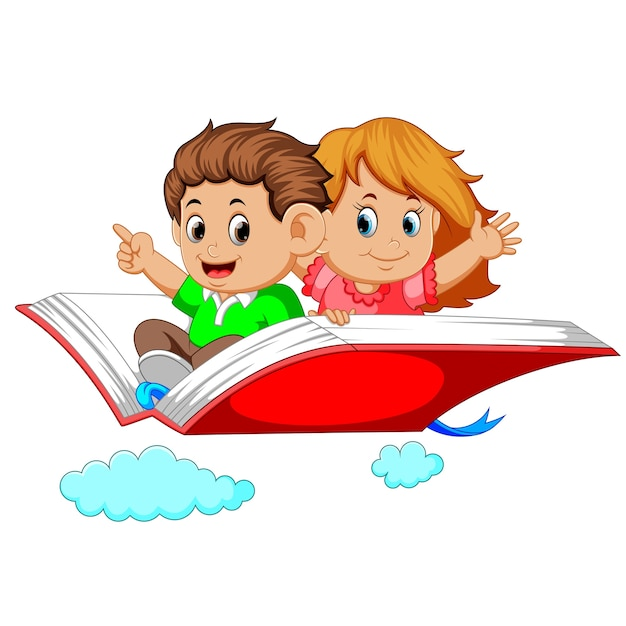 Enfants Heureux Volant Sur Grand Livre Ouvert Telecharger