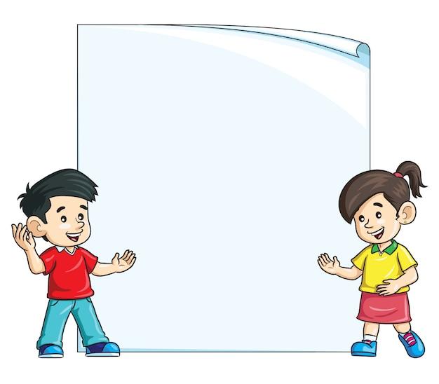Enfants sur l'illustration de papier vierge Vecteur Premium