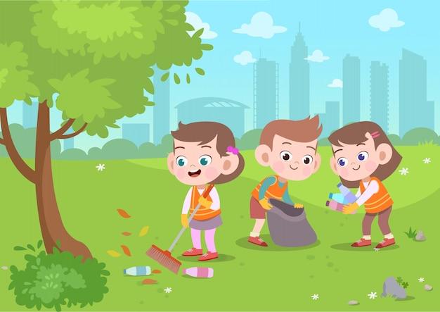 Enfants, illustration vectorielle de parc de nettoyage Vecteur Premium