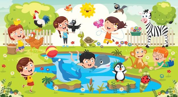Enfants Jouant Avec Des Animaux Drôles Vecteur Premium