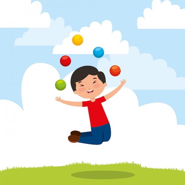 Enfants Jouant Au Dessin Animé Vecteur Premium