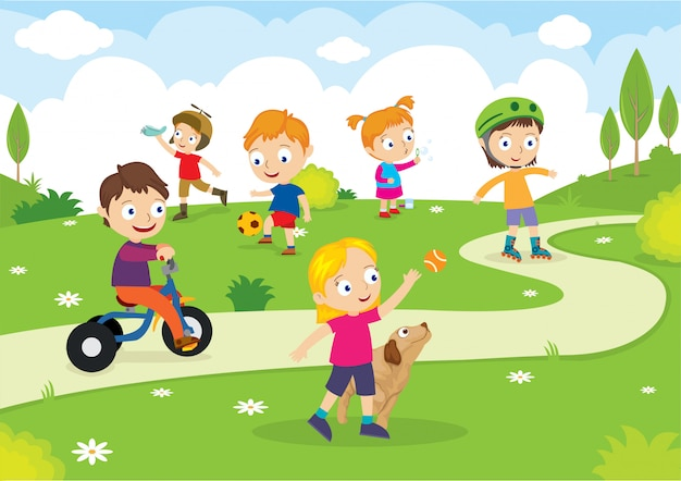 Enfants jouant au parc Vecteur Premium