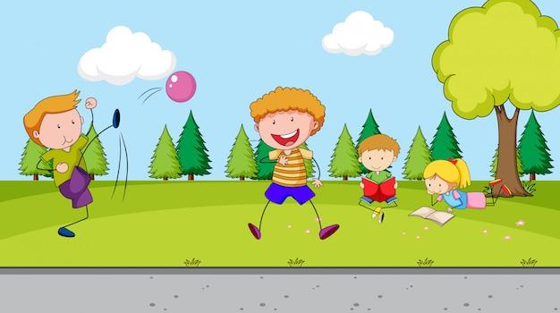 Enfants jouant au terrain de jeu Vecteur gratuit
